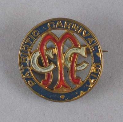 Melbourne Cricket Club Patriotic Carnival Badge 1917; Civic mementoes; M7614