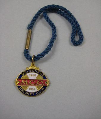 Melbourne Cricket Club membership medallion, season 1956/57