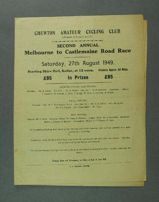 Programme, cycling - Second Annual Melbourne-Castlemaine Road Race 27 August 1949 in which Robert Pearson competed.
