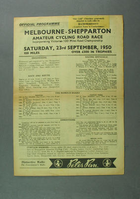 Programme - Melbourne-Shepparton Amateur Cycling Road Race 23 September 1950; Documents and books; 1993.2852.12
