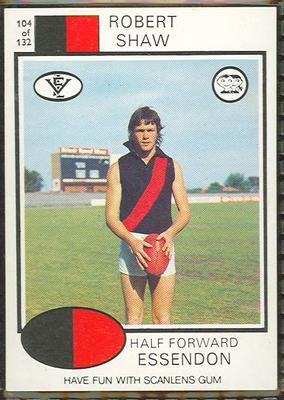 1975 Scanlens VFL Football Robert Shaw trade card