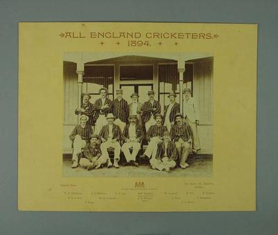 All England Cricketers - XI team photograph, Sydney 1894; Photography; M7630
