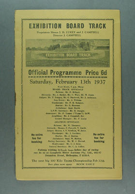 Programme - Exhibition Board Track, 13 February 1937