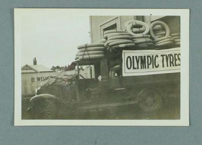 Photograph of Olympic Tyre & Rubber Company truck, c1933