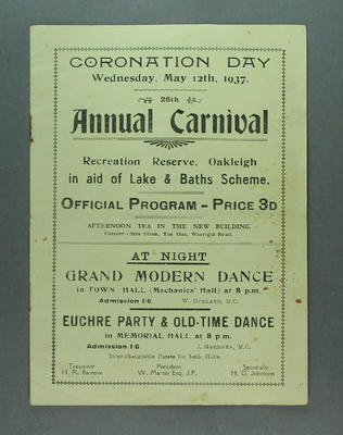 Programme - Coronation Day Annual Carnival, 12 May 1937