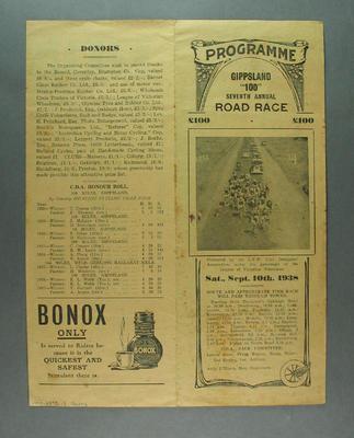 Programme - Gippsland '100' Seventh Annual Road Race 10 September 1938