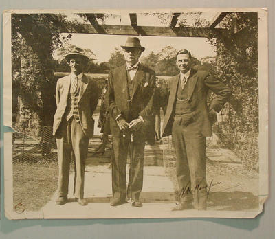 Photograph of Clarrie Grimmett, Lord Chelmsford and Bill Woodfull
