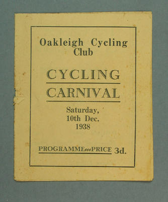 Programme - Oakleigh Cycling Club Cycling Carnival 10 December 1938