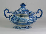 Goodwin & Harris blue and white soup tureen and cover c.1830