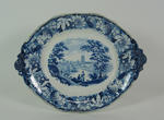 Goodwin & Harris blue and white oval stand for the soup tureen c.1830