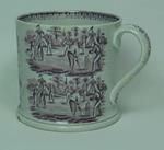 Ceramic Staffordshire mug with handle, cricket scenes on outside, c.1860