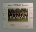 Autographed photograph of 1990-91 England cricket team Australasian tour