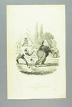 """Cricket print entitled """"Out - So don't fatigue yourself, I beg sir?"""""""