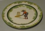 Plate, depicts boy cricketer