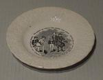 Plate, depicts figures discussing cricket