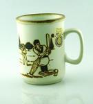 Mug, cricketing scene