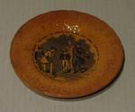 """Ceramic plate, central  cricket scene, verse """"The basket he opened the parcel ..."""""""