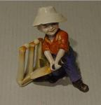 """Boy cricketer figurine titled:   """"The Hope of His Side"""""""