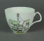 Tea cup and saucer, cricket design