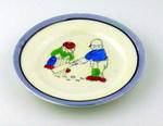 Plate, boys playing cricket design
