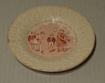 """Plate, cricket design with text """"The basket he opend the parcel was flown..."""""""