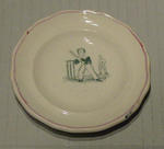 Miniature plate - two boys playing cricket