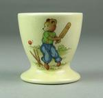Egg cup, depicts animals playing cricket