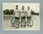 Black and white photograph of  Ern Milliken, Hubert Opperman and W 'Hefty' Stuart at the Herne Hill Track in London, 1935