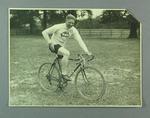 Black and white photograph of Ernie Milliken taken outside Trainer's House, Yardley, Birmingham