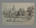 """Print, """"Rochester Cathedral from the Vines"""" - circa 1860"""