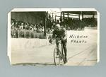Black and white photograph of cyclist Nicholas Frantz