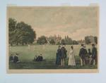 Hand-coloured etching, depicts cricket match at Rugby School - 1889