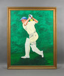 Oil painting, cricketer batting