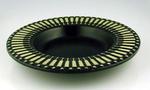 Black ceramic plate with cricket design