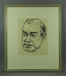 Original framed sketch of Harry Hopman signed by artist Louis Kahan 1960-70
