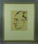 Original framed sketch of Harry Hopman signed by artist Louis Kahan 1970