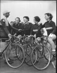 Copy negative of Dot Edney with bicycle racing team & Hubert Opperman, c1930s