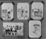 Copy negative of a page from a photo album featuring various cyclists, c1930s