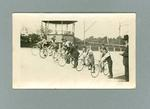 Photograph of cyclists riding at the Exhibition Track, c1923