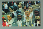 Colour postcard depicting parade participants in cricket whites