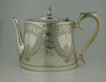Silver teapot presented to winner of 1893 MCC Tennis Doubles Handicap, won by ET Barnard