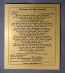 Plaque, prose related to Australian Test cricketers c1998
