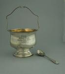 Trophy - Sugar bowl and spoon, W.H.G.C. M. Cain Trophy won by E. Milliken, 3 Down'