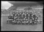 Glass negative, image of Carlton Football Club team