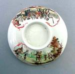 Lid for sugar bowl, image of eighteenth century cricket games