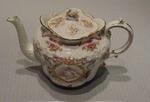 Aynsleyware ceramic teapot with Queen Victoria & sporting scenes design