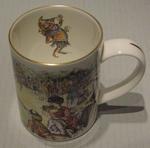 Coalport mug featuring cricket match outside & jester inside. Punch Publication Ltd