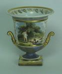 Flight Barr & Barr Worcester vase - two figures and cricket equipment
