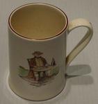 Staffordshire mug:   image of  'William Davies, Scorer' &   Father Time weather vane other side