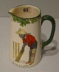 """Royal Doulton jug with cricket design, inscribed """"Good for Fifty"""" and """"All Black Team"""""""